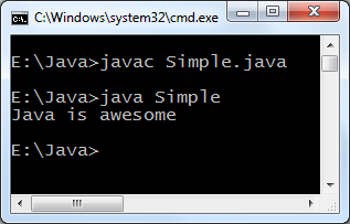 Interface java example program output