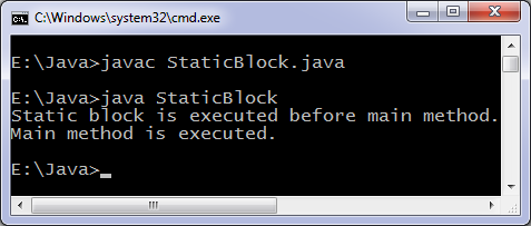 Java static block program