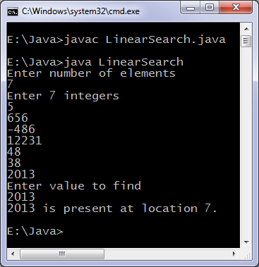 Linear Search Java program output