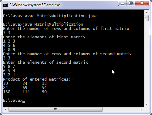 Java matrix multiplication program.