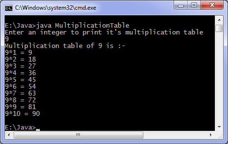 Java program to print multiplication table output