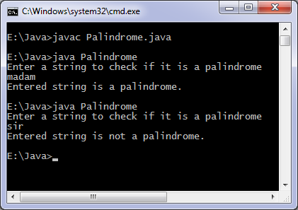Palindrome Java program output