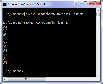 Java random numbers program output