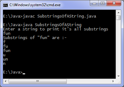 Output of Java program fo find all substrings of a string