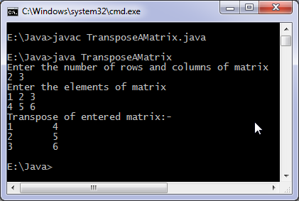 Transpose matrix Java program output