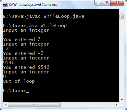 Java while loop example program