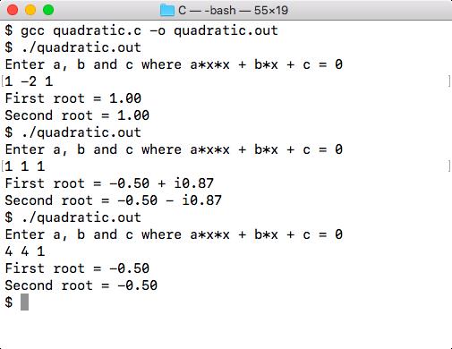 Quadratic equation program output